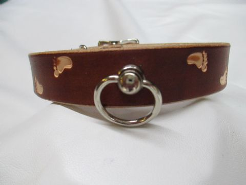 Leather Stamped Foot/Paw Theme Collar